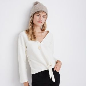 Madewell White Texture & Thread Tie Front Top